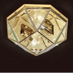 handgefertigte Deckenleuchte mit hochwertigem Kristallglas, Ø 48cm in drei edlen Oberflächen wählbar