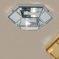 handgefertigte Deckenleuchte mit hochwertigem Kristallglas, Ø 26,5cm in drei edlen Oberflächen wählbar