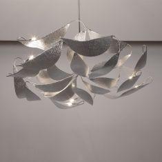 handgefertigte Design-Pendelleuchte aus Edelstahl - Länge 180cm