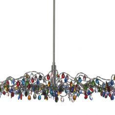 handgefertigte Design-Pendelleuchte TIARA oval mit kristallen Glasanhängern, in 4 Varianten lieferbar