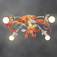 Handgefertigte Florentiner Deckenleuchte - Made in Italy - 4-flammig 4x 40 Watt, 20,00 cm, 50,00 cm, 50,00 cm