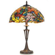handgefertigte Hockerleuchte im Tiffany-Stil, stimmungsvolle Farben, Höhe 60cm