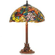handgefertigte Hockerleuchte im Tiffany-Stil, stimmungsvolle Farben, Höhe 61cm
