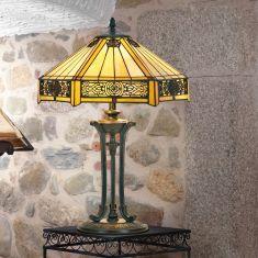 handgefertigte Tischleuchte im Tiffany-Stil,  farbenreiche Glaskunst , Höhe 59cm