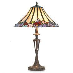 handgefertigte Tischleuchte im Tiffany-Stil, farbenreiche Glaskunst, Höhe 60cm