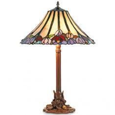 handgefertigte Tischleuchte im Tiffany-Stil, farbenreiche Glaskunst, Höhe 61cm