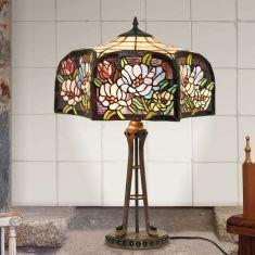 handgefertigte Tischleuchte im Tiffany-Stil, farbenreiche Glaskunst, Höhe 63cm