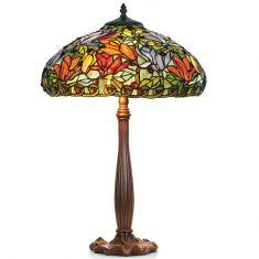 handgefertigte Tischleuchte im Tiffany-Stil, farbenreiche Glaskunst, Höhe 64cm