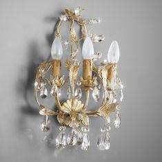 Handgemachte Wandleuchte im Florentiner-Stil - Made in Italy - 3-flammig - Wählbar mit Bleikristall- oder Glasbehang