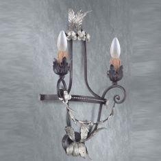 Handgemachte Wandleuchte - 2-flammig - Made in Italy - Schwarz - Silber