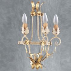 Handgemachte Wandleuchte - 3-flammig - Made in Italy - Weiss - Gold
