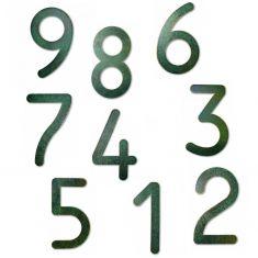 Hausnummer von 0-9, in Grün-Gold patiniert, Höhe 16cm,