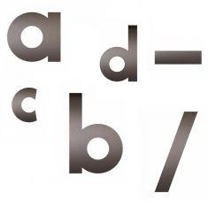 Hausnummer-Buchstaben von a-d, Bindestrich und Schrägstrich - in Mokkabraun - Höhe 12cm,