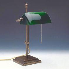Höhenverstellbare Bankers-Leuchte in altmessing - Glasschirm in fünf Farbausführungen