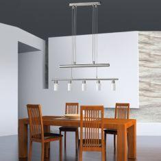 Höhenverstellbare LED-Zugendelleuchte in Nickel matt-Glas gewischt, inklusive GU10, 5 x 4Watt, warmweiße Lichtfarbe