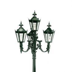 Hochwertige 4-flammige Laterne mit reichverzierten Kronenköpfen - dunkelgrün lackiert
