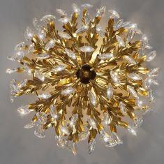 Hochwertige Florentiner Deckenleuchte - Blattgold - 3-flammig - Glasbehang