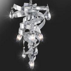 Hochwertige Pendelleuchte - Handgefertigt in Italien - Blattsilber - Weiß patiniert - Kristallbehang