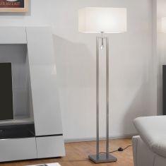 Hochwertige Stehleuchte - Mit LED-Leselicht - Made in Germany - Stoffschirm weiß - Chrom Chrom