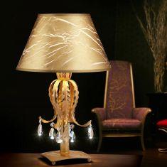 Hochwertige Tischleuchte - Handgefertigt in Italien - Blattgold mit weißer Patina - Kristallbehang - Textilschirm
