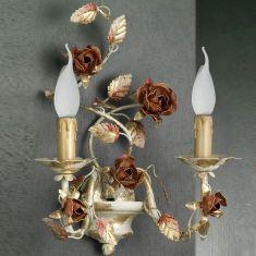 Hochwertige Wandleuchte  im Florentiner Stil - 2-flammig - Eisen lackiert - Handgefertigt in Italien - Farbe: Pompej