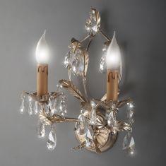 Hochwertige Wandleuchte - Handarbeit aus Italien - 2-flammig - Blattsilber - Glasbehang oder Kristallglas wählbar