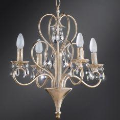 Hochwertiger Kronleuchter - 4-flammig - Traditonsarbeit Made in Italy - Blattgold mit weißer Patina - Kristallbehang