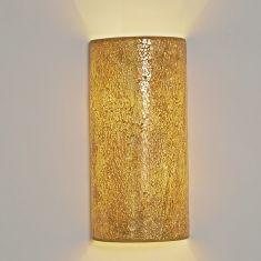 Holländer Halbrunde Wandleuchte, Mosaikglas amberfarbig