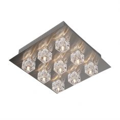 Holtkötter Quadratische Deckenleuchte mit Eiswürfelglas