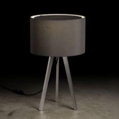 Holtkötter Tischleuchte Aluminium-matt mit Chintz-Schirm