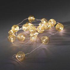 Innen LED-Dekolichterkette 20 goldene Metall-Drahtkugeln