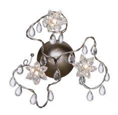 Jewel 3 Deckenleuchte aus Edelstahl mit kristallen Glasanhängern, handgefertigt