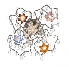 Jewel 5 Deckenleuchte aus Edelstahl mit kristallen Glasanhängern, handgefertigt