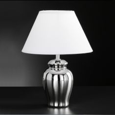 Keramik-Vasenleuchte in moderner Optik, Höhe 30cm, Ø 23cm, Keramik Chrom glänzend Chrom/glänzend