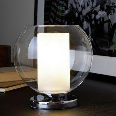 Kerze im Glas: Tischleuchte aus klarem und satiniertem Glas
