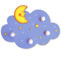 Kinderdeckenlampe Wolke mit Mond und Sternen, LED Schlummerlicht