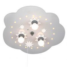 Kinderdeckenleuchte Wolke in silber, Sternenhimmelfunktion