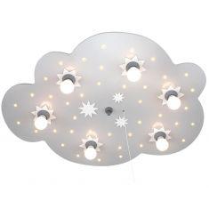 Kinderdeckenleuchte XXL-Wolke in silber, Sternenhimmelfunktion