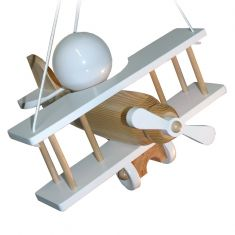 Kinder-Pendelleuchte - Flugzeug - Holz - Natur - Weiss