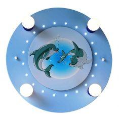 Kinderzimmer-Deckenleuchte mit niedlichen Delfinen in blau