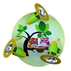 Kinderzimmer-Rondell mit Eulenfamilie in lindgrün bunt/grün