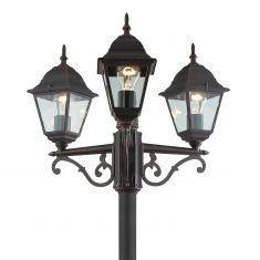 Klassische 3-flammige Mastleuchte in rostfarben oder Schwarz - Höhe 220cm - aus Aluminiumguss - IP23