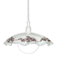 Klassisches Küchen-Glaspendel mit bemaltem, floralem Muster