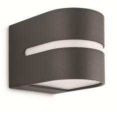 Kleine runde Außen-Wandleuchte - Aluminium - anthrazit Aluminium/Kunststoff, anthrazit