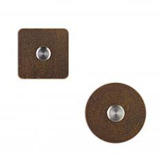 Klingelknopf in Braun-Gold handpatiniert, pulverbeschichteter Edelstahl, in rund oder eckig