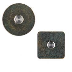 Klingelknopf in Grün-Gold handpatiniert, in rund oder eckig