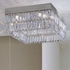 Kolarz Kristall-Deckenleuchte Prisma Stretta in Chrom