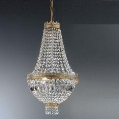Kristall Lüster Cupola in grün-gold-antik mit Glasbehang Ø 40cm