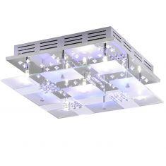 Kristall-Deckenleuchte 35x35cm in Chrom, inklusive Halogen und LED-Leuchtmittel Weiß-Blau, Steuerung per Fernbedienung