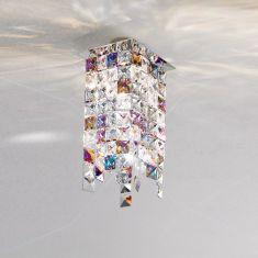 Kristall-Deckenleuchte Prisma Stretta von Kolarz® 12x 12cm in Chrom 1x 25 Watt, chrom, Chrom